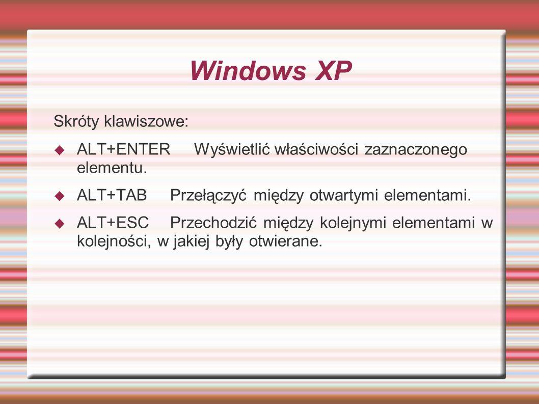 Windows XP Skróty klawiszowe: