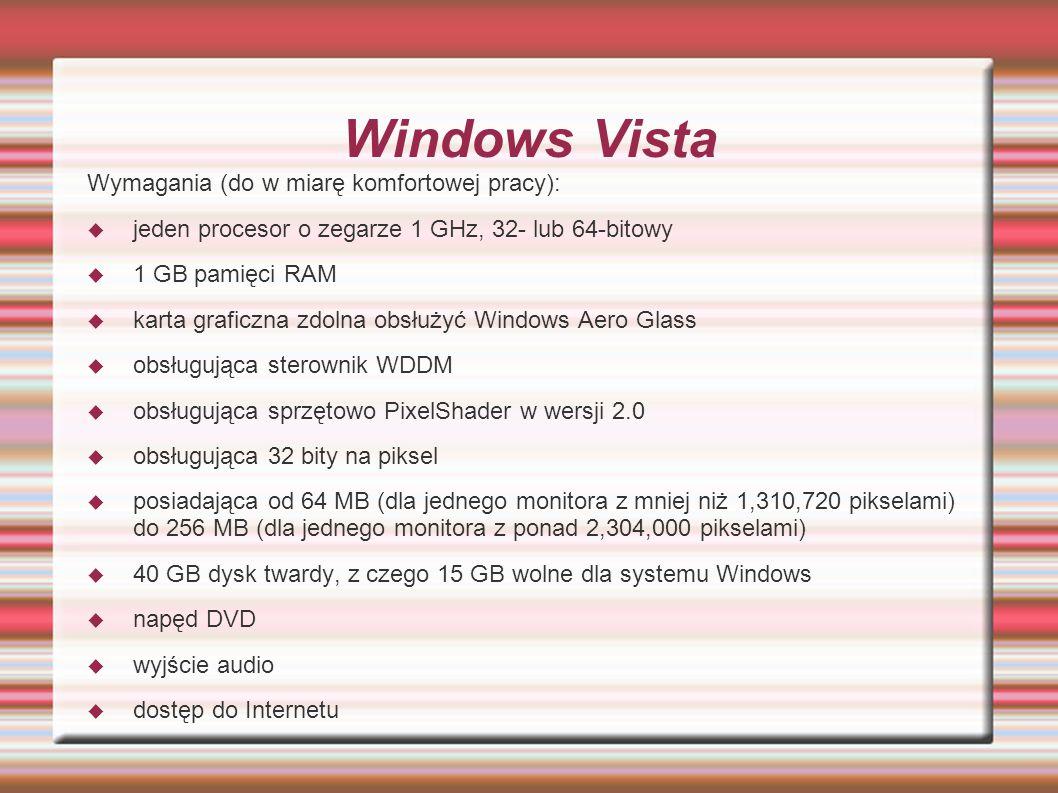 Windows Vista Wymagania (do w miarę komfortowej pracy):