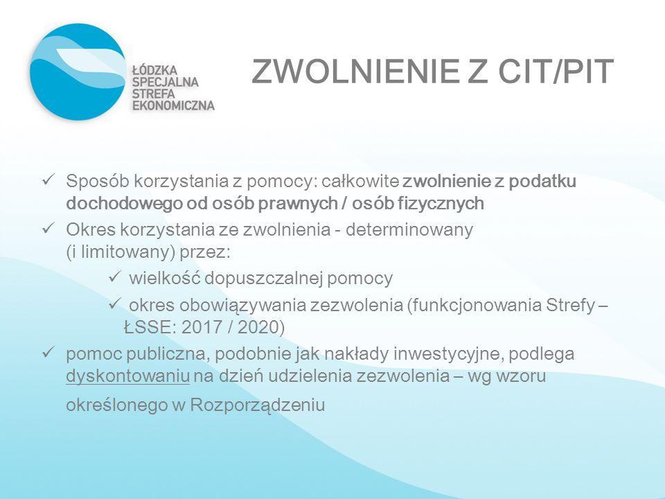 ZWOLNIENIE Z CIT/PIT Sposób korzystania z pomocy: całkowite zwolnienie z podatku dochodowego od osób prawnych / osób fizycznych.