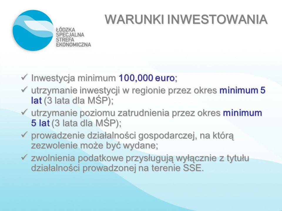 WARUNKI INWESTOWANIA Inwestycja minimum 100,000 euro;