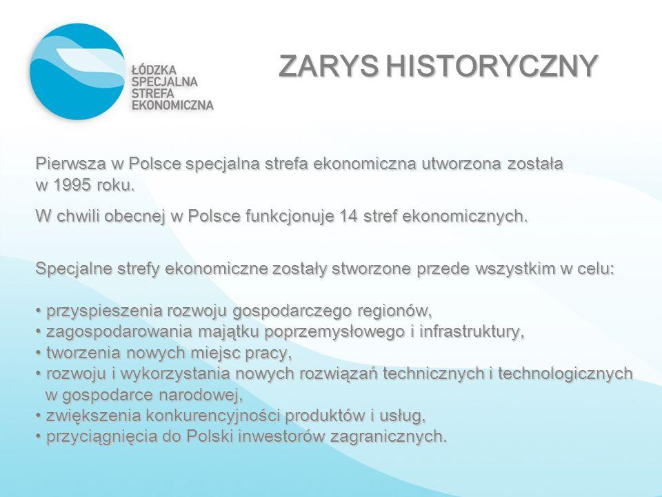 ZARYS HISTORYCZNY Pierwsza w Polsce specjalna strefa ekonomiczna utworzona została w 1995 roku.