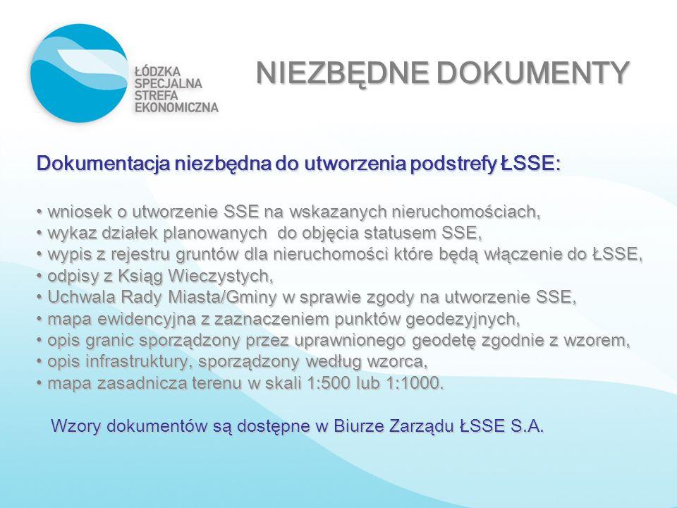 NIEZBĘDNE DOKUMENTY Dokumentacja niezbędna do utworzenia podstrefy ŁSSE: wniosek o utworzenie SSE na wskazanych nieruchomościach,