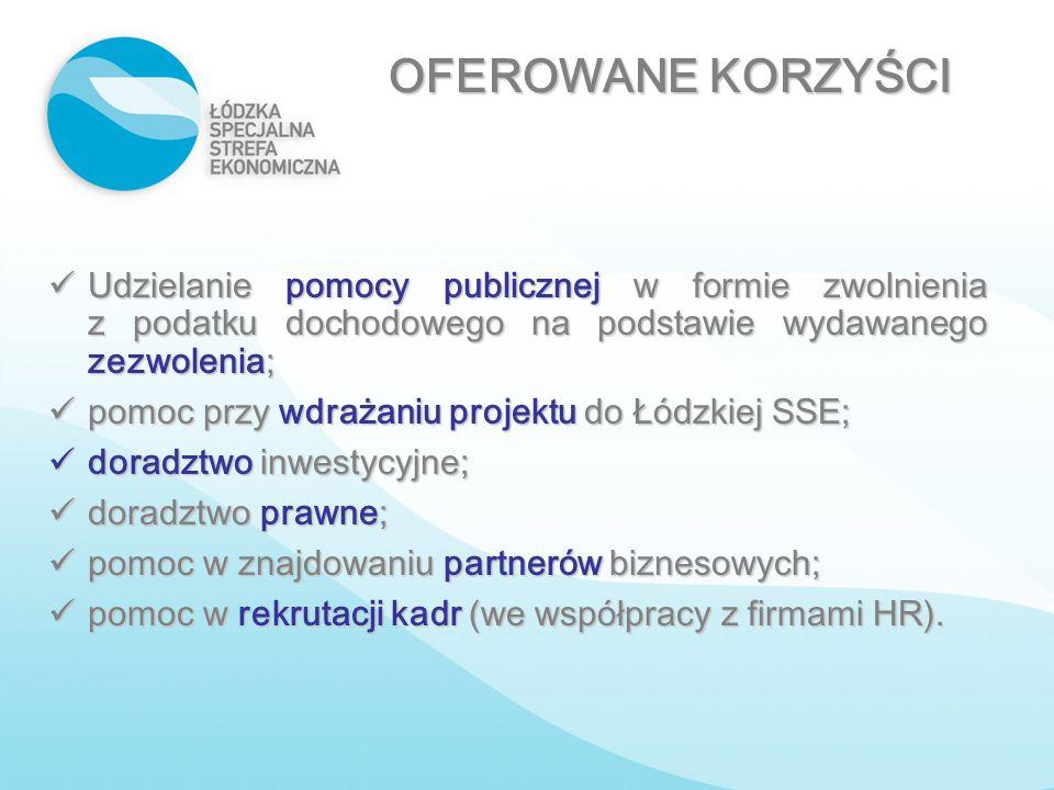 OFEROWANE KORZYŚCI Udzielanie pomocy publicznej w formie zwolnienia z podatku dochodowego na podstawie wydawanego zezwolenia;