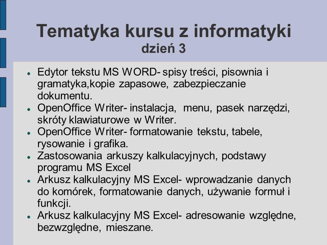 Tematyka kursu z informatyki dzień 3