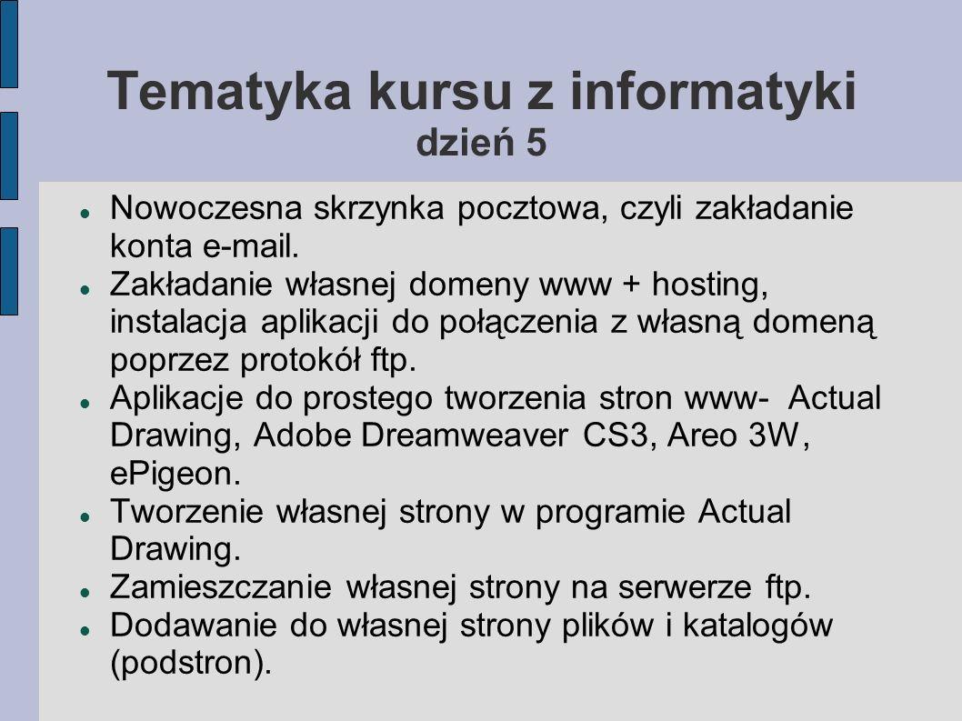 Tematyka kursu z informatyki dzień 5