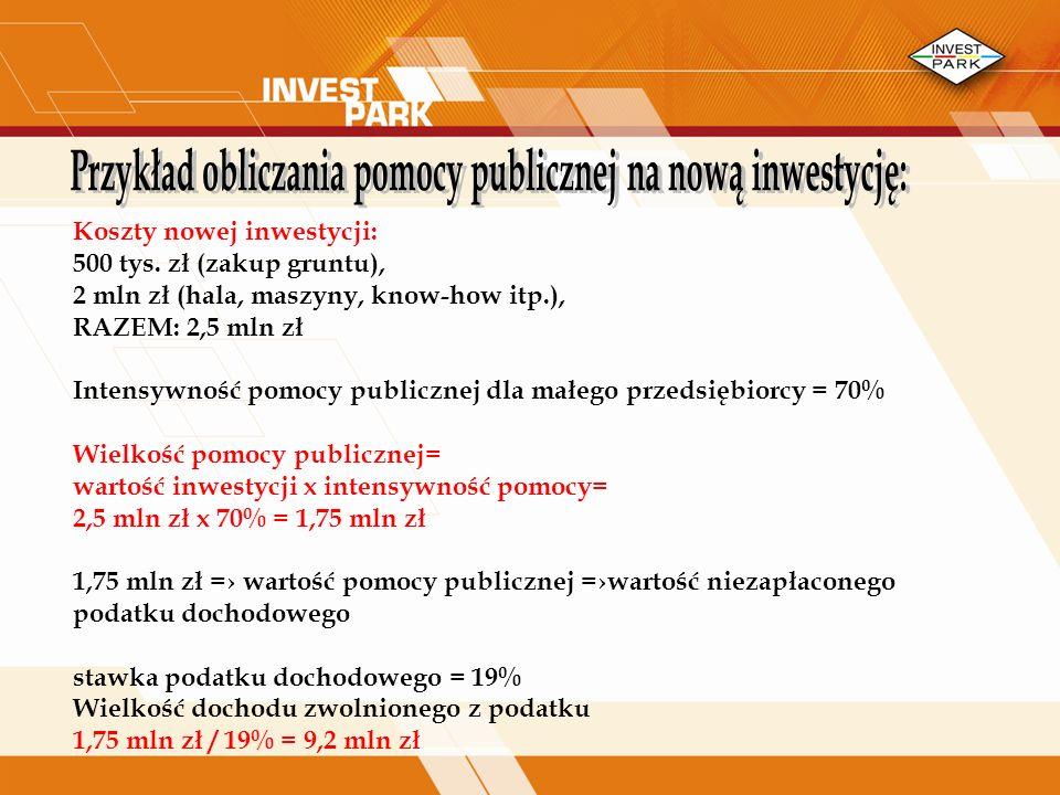 Przykład obliczania pomocy publicznej na nową inwestycję: