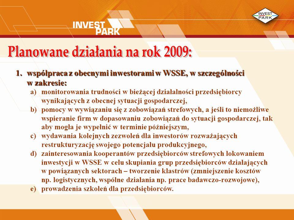 Planowane działania na rok 2009:
