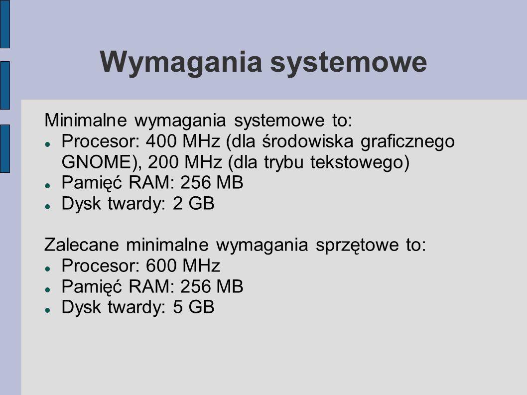 Wymagania systemowe Minimalne wymagania systemowe to:
