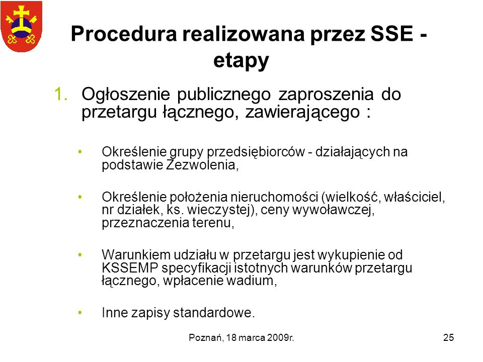 Procedura realizowana przez SSE - etapy
