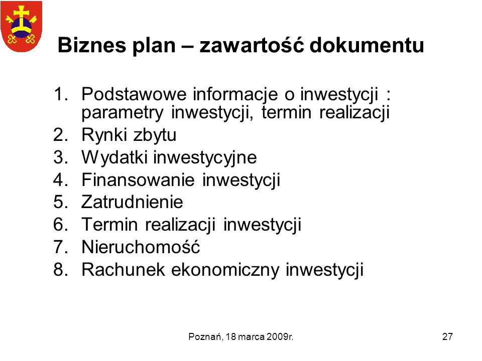 Biznes plan – zawartość dokumentu