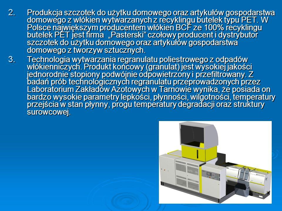 """Produkcja szczotek do użytku domowego oraz artykułów gospodarstwa domowego z włókien wytwarzanych z recyklingu butelek typu PET. W Polsce największym producentem włókien BCF ze 100% recyklingu butelek PET jest firma """"Pasterski czołowy producent i dystrybutor szczotek do użytku domowego oraz artykułów gospodarstwa domowego z tworzyw sztucznych."""
