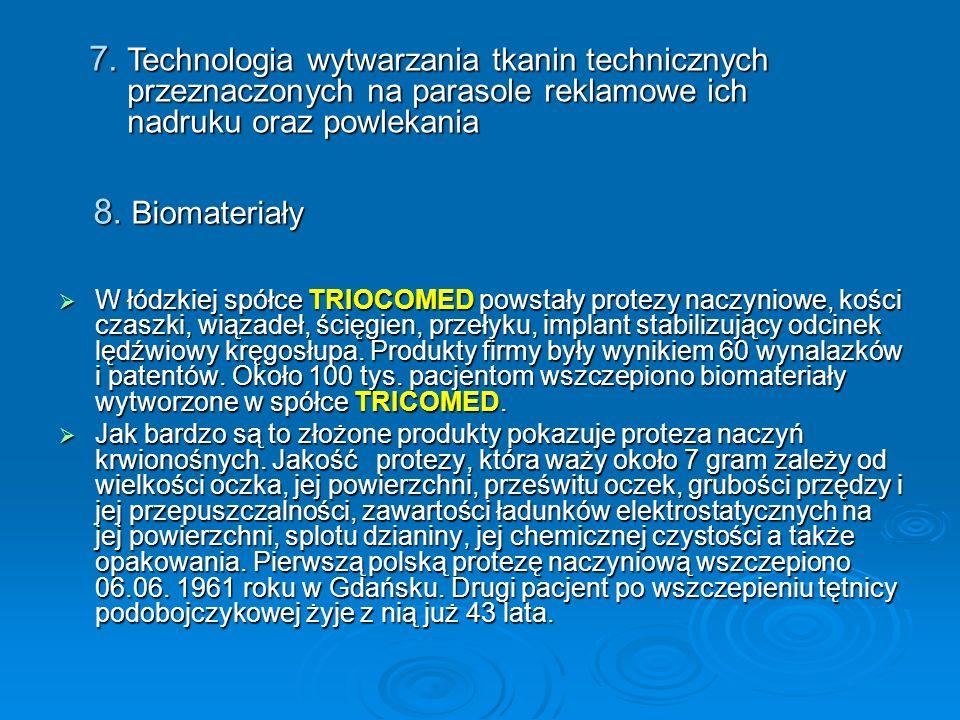 Technologia wytwarzania tkanin technicznych przeznaczonych na parasole reklamowe ich nadruku oraz powlekania