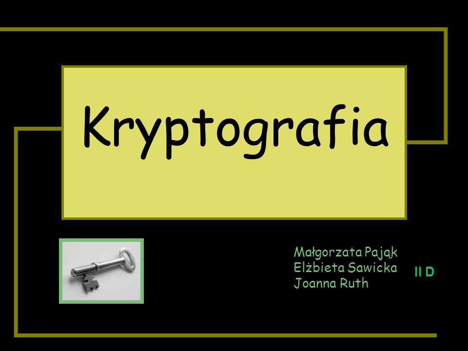 Kryptografia Małgorzata Pająk Elżbieta Sawicka Joanna Ruth II D