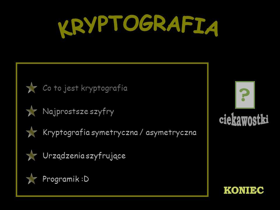KRYPTOGRAFIA Co to jest kryptografia Najprostsze szyfry
