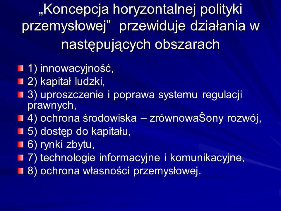 """""""Koncepcja horyzontalnej polityki przemysłowej przewiduje działania w następujących obszarach"""