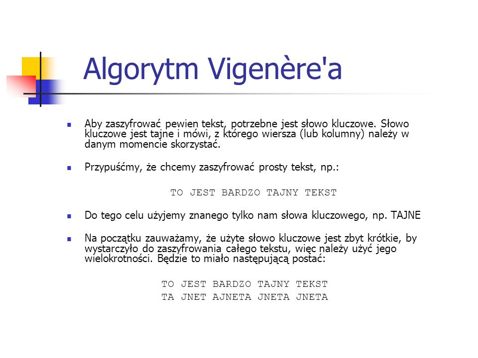 Algorytm Vigenère a
