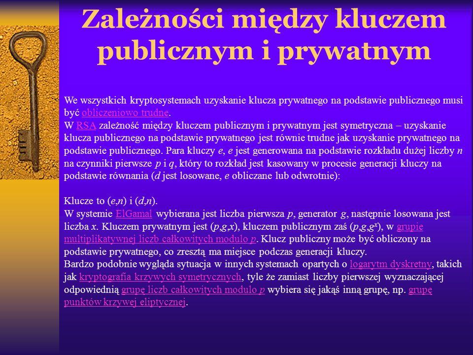 Zależności między kluczem publicznym i prywatnym