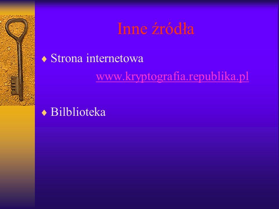 Inne źródła Strona internetowa www.kryptografia.republika.pl