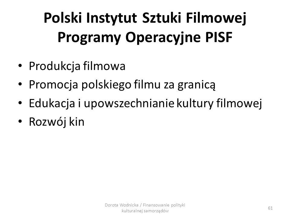 Polski Instytut Sztuki Filmowej Programy Operacyjne PISF