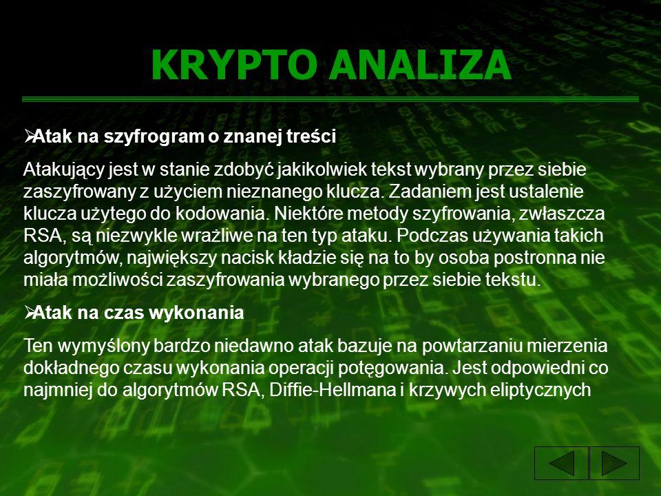 KRYPTO ANALIZA Atak na szyfrogram o znanej treści