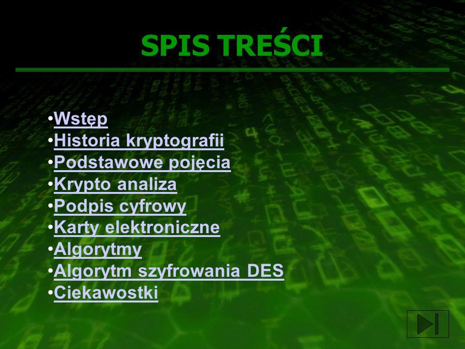 SPIS TREŚCI Wstęp Historia kryptografii Podstawowe pojęcia