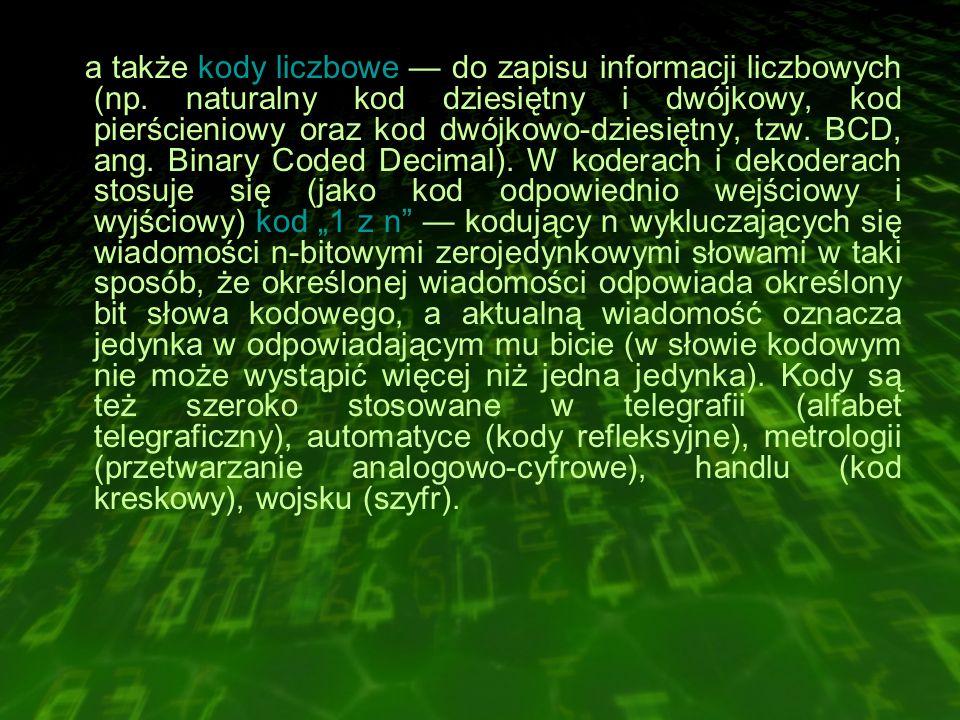 a także kody liczbowe — do zapisu informacji liczbowych (np