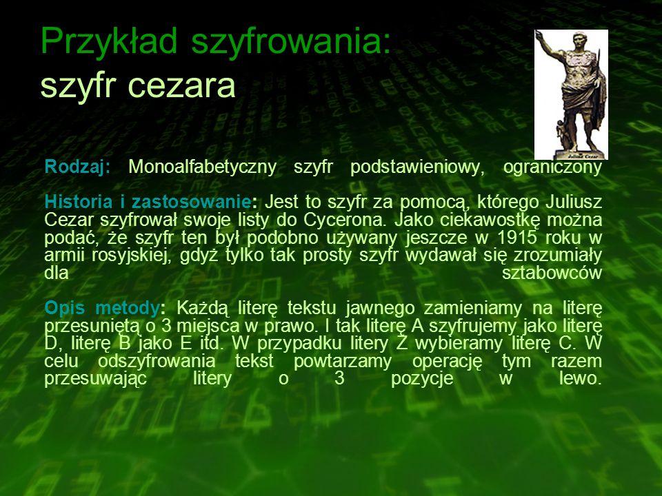 Przykład szyfrowania: szyfr cezara