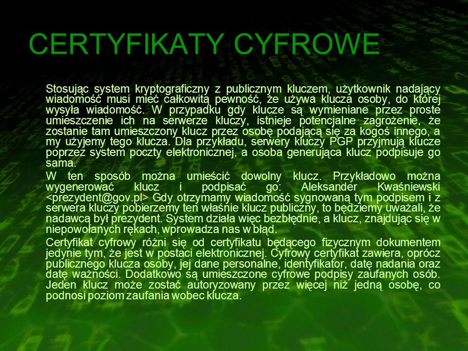 CERTYFIKATY CYFROWE