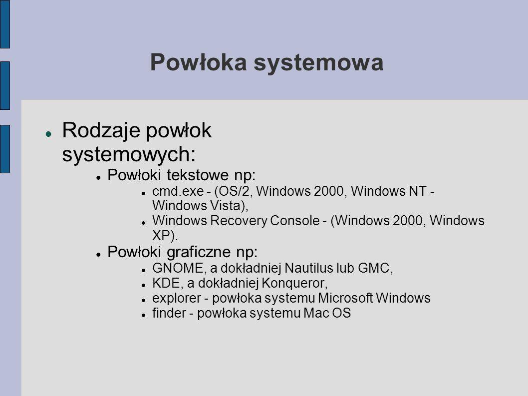 Powłoka systemowa Rodzaje powłok systemowych: Powłoki tekstowe np: