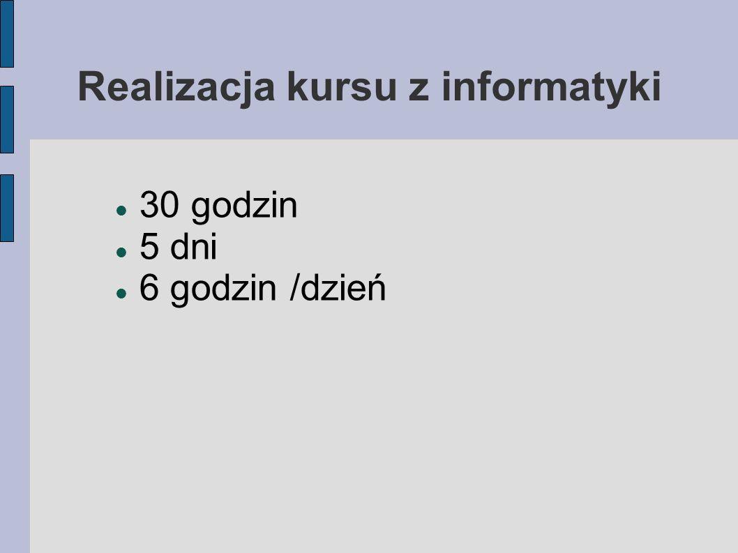 Realizacja kursu z informatyki