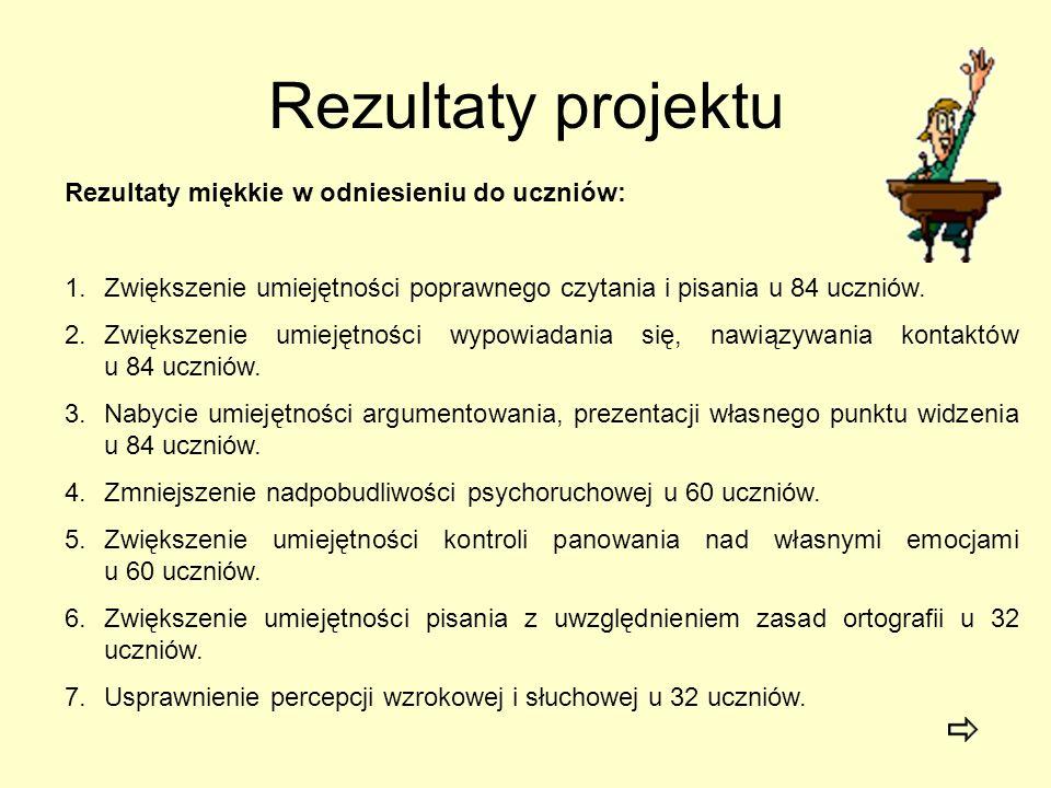 Rezultaty projektu Rezultaty miękkie w odniesieniu do uczniów: