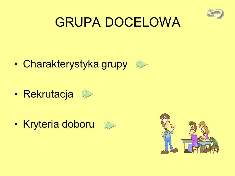 GRUPA DOCELOWA Charakterystyka grupy Rekrutacja Kryteria doboru