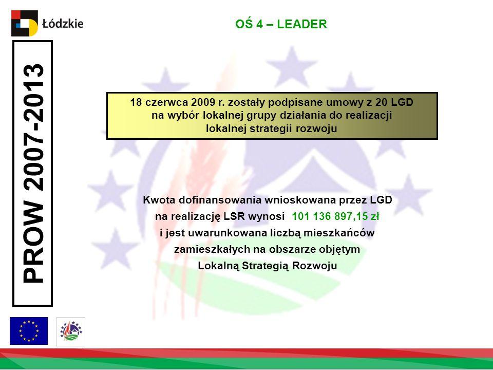 OŚ 4 – LEADER 18 czerwca 2009 r. zostały podpisane umowy z 20 LGD na wybór lokalnej grupy działania do realizacji lokalnej strategii rozwoju.