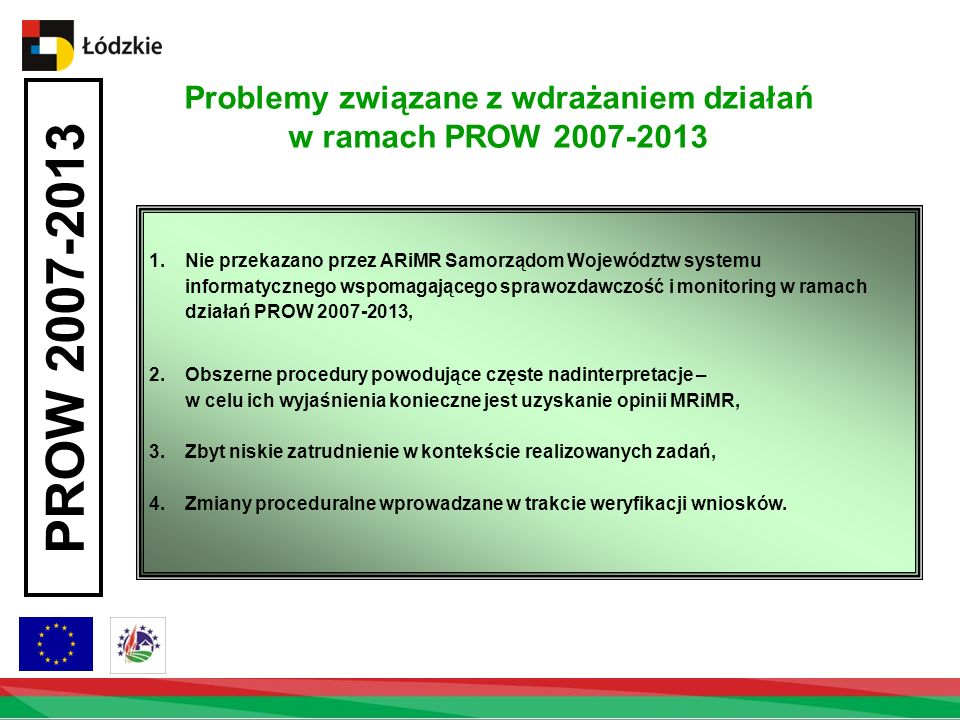 Problemy związane z wdrażaniem działań w ramach PROW 2007-2013