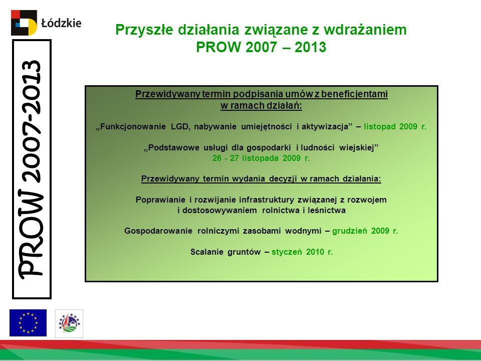 Przyszłe działania związane z wdrażaniem PROW 2007 – 2013