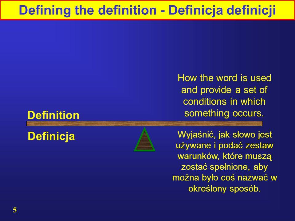 Defining the definition - Definicja definicji