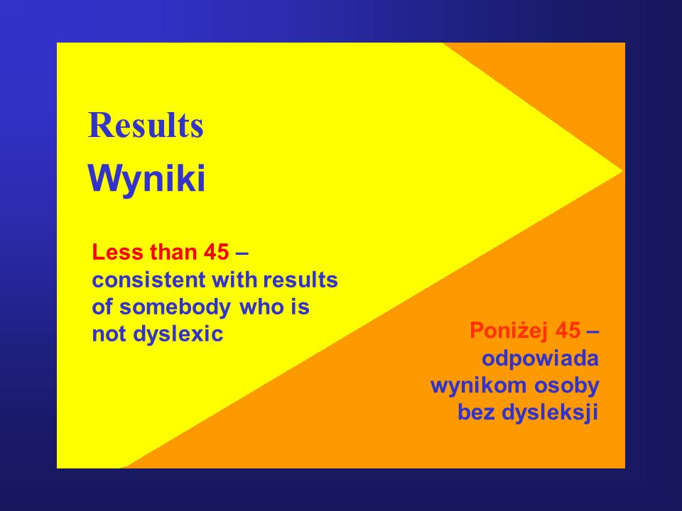 Results Wyniki Less than 45 – consistent with results
