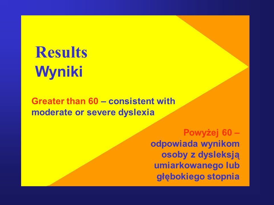 Results Wyniki Greater than 60 – consistent with