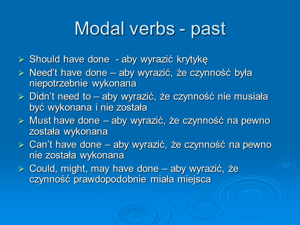 Modal verbs - past Should have done - aby wyrazić krytykę