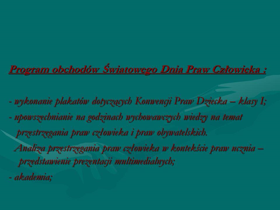 Program obchodów Światowego Dnia Praw Człowieka :