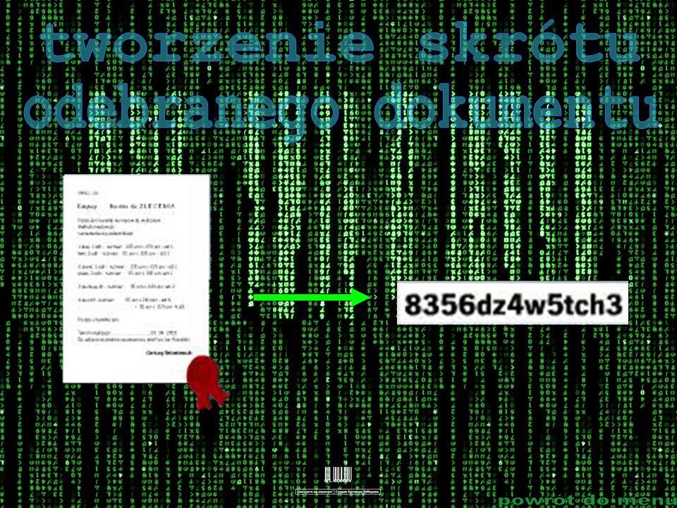 tworzenie skrótu odebranego dokumentu powrót do menu