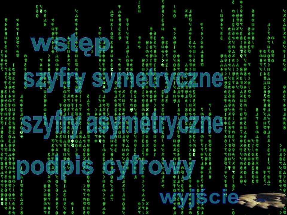 wstęp szyfry symetryczne szyfry asymetryczne podpis cyfrowy wyjście