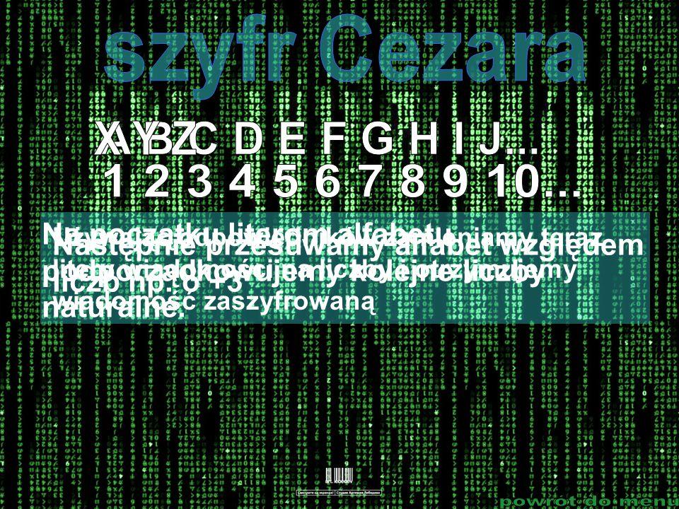 szyfr Cezara X Y Z A B C D E F G H I J... 1 2 3 4 5 6 7 8 9 10...