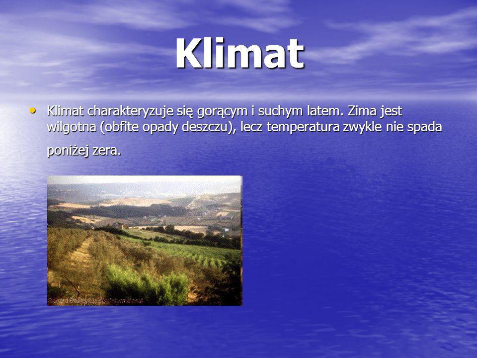 Klimat Klimat charakteryzuje się gorącym i suchym latem.