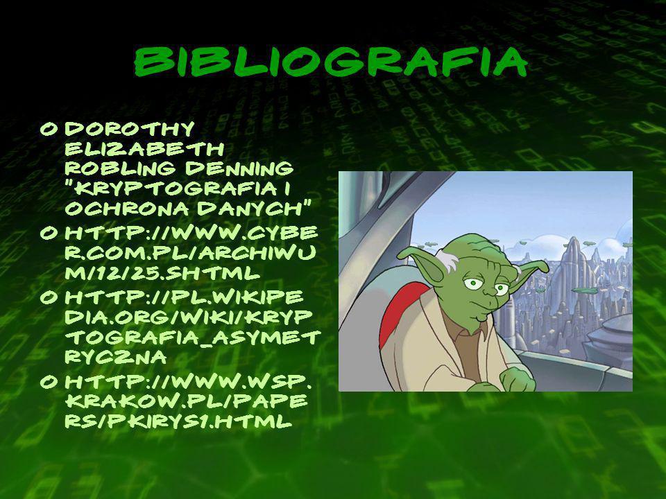BIBLIOGRAFIA Dorothy Elizabeth Robling Denning Kryptografia i ochrona danych http://www.cyber.com.pl/archiwum/12/25.shtml.