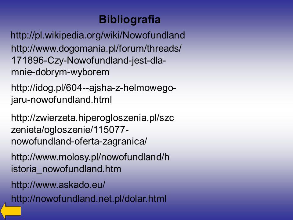 Bibliografia http://pl.wikipedia.org/wiki/Nowofundland