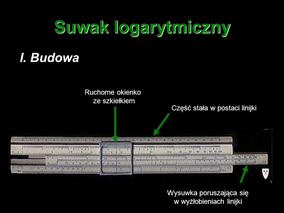 Suwak logarytmiczny I. Budowa Ruchome okienko ze szkiełkiem