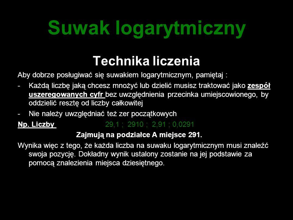 Suwak logarytmiczny Technika liczenia