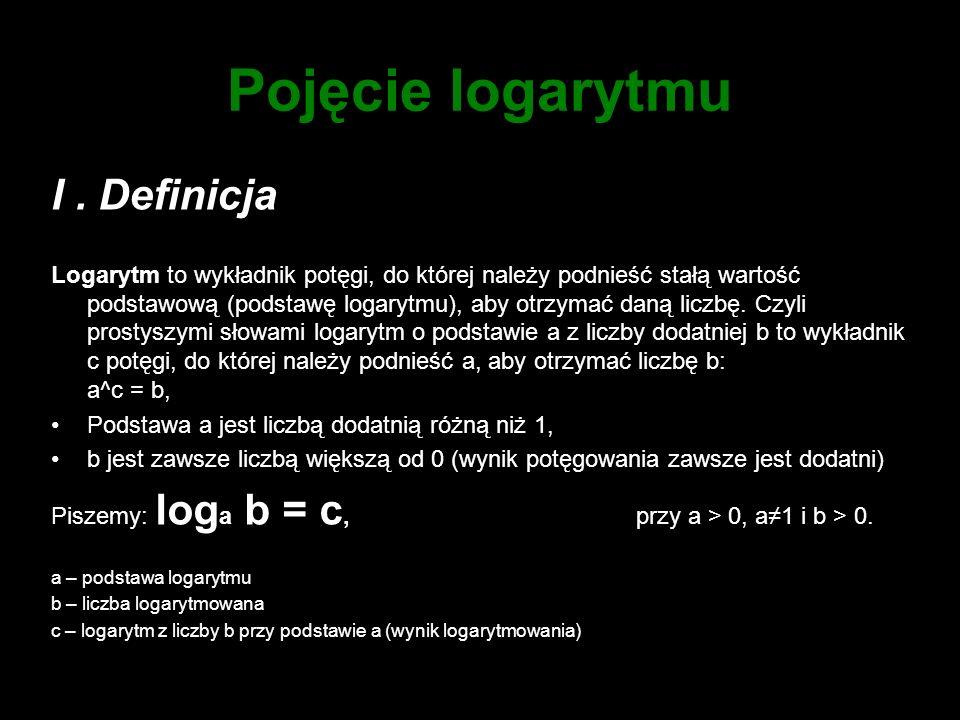 Pojęcie logarytmu I . Definicja