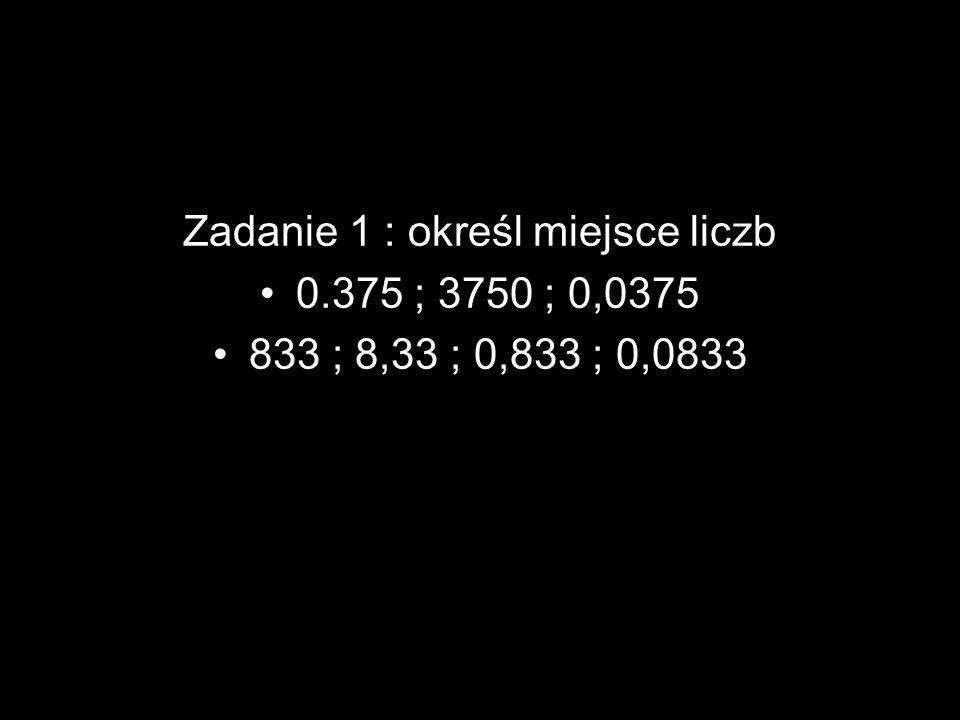 Zadanie 1 : określ miejsce liczb